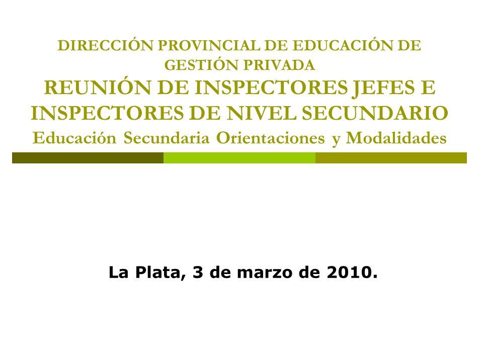 DIRECCIÓN PROVINCIAL DE EDUCACIÓN DE GESTIÓN PRIVADA REUNIÓN DE INSPECTORES JEFES E INSPECTORES DE NIVEL SECUNDARIO Educación Secundaria Orientaciones y Modalidades La Plata, 3 de marzo de 2010.