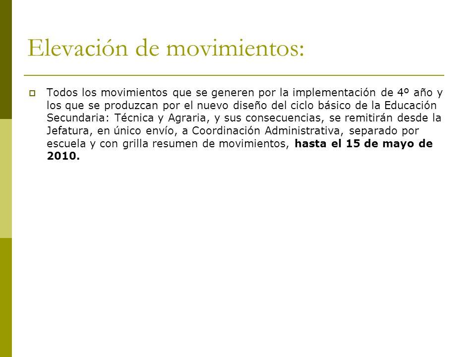 Elevación de movimientos: Todos los movimientos que se generen por la implementación de 4º año y los que se produzcan por el nuevo diseño del ciclo bá
