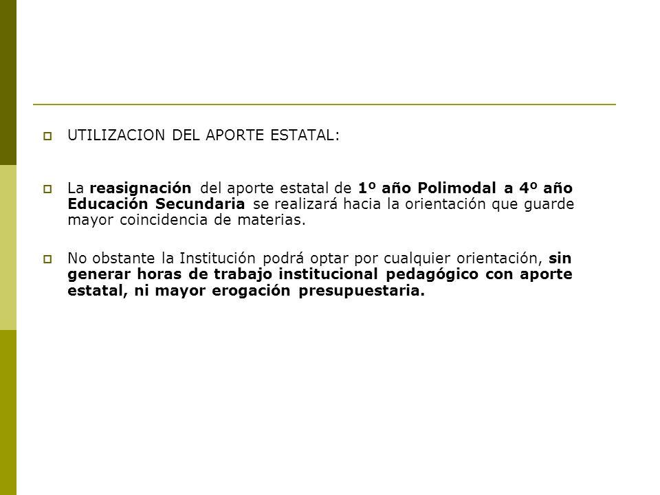 UTILIZACION DEL APORTE ESTATAL: La reasignación del aporte estatal de 1º año Polimodal a 4º año Educación Secundaria se realizará hacia la orientación