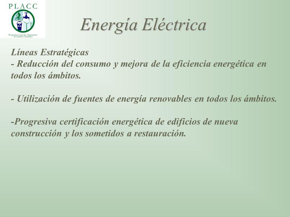 Líneas Estratégicas - Reducción del consumo y mejora de la eficiencia energética en todos los ámbitos. - Utilización de fuentes de energía renovables