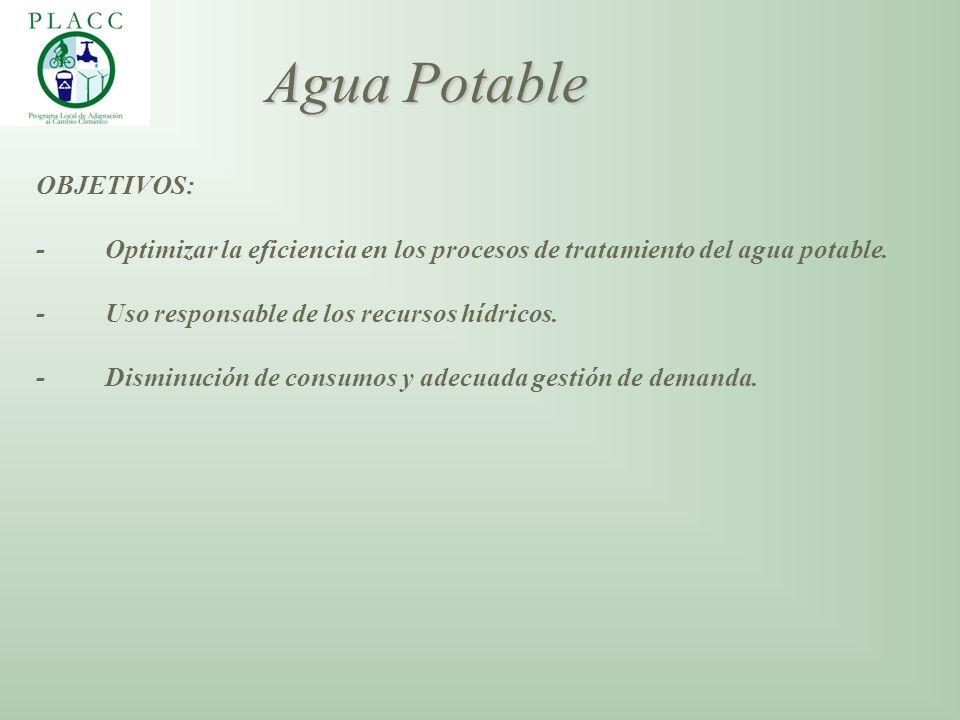OBJETIVOS: - Optimizar la eficiencia en los procesos de tratamiento del agua potable. - Uso responsable de los recursos hídricos. - Disminución de con