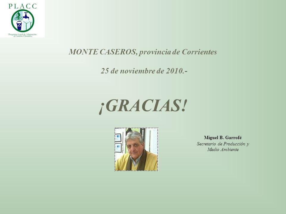 MONTE CASEROS, provincia de Corrientes 25 de noviembre de 2010.- ¡GRACIAS! Miguel B. Garrofé Secretario de Producción y Medio Ambiente