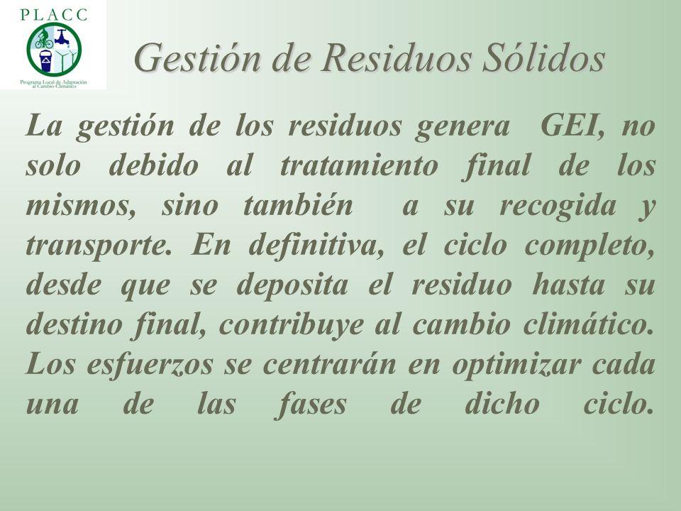 La gestión de los residuos genera GEI, no solo debido al tratamiento final de los mismos, sino también a su recogida y transporte. En definitiva, el c