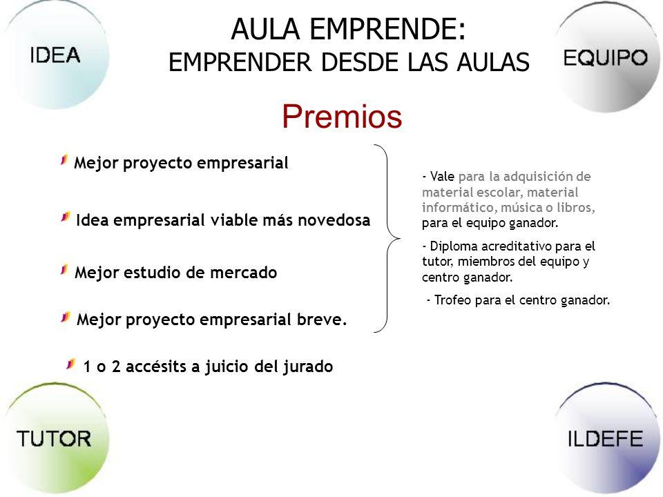 AULA EMPRENDE: EMPRENDER DESDE LAS AULAS Mejor proyecto empresarial Idea empresarial viable más novedosa Mejor estudio de mercado Mejor proyecto empre