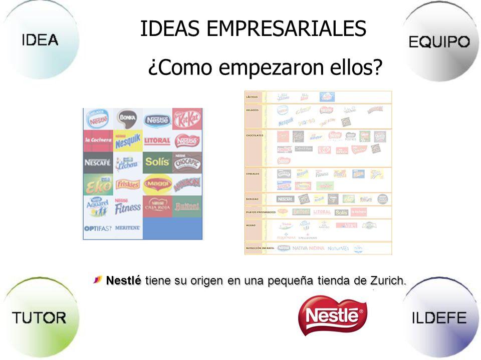 IDEAS EMPRESARIALES ¿Como empezaron ellos? Nestlé tiene su origen en una pequeña tienda de Zurich.