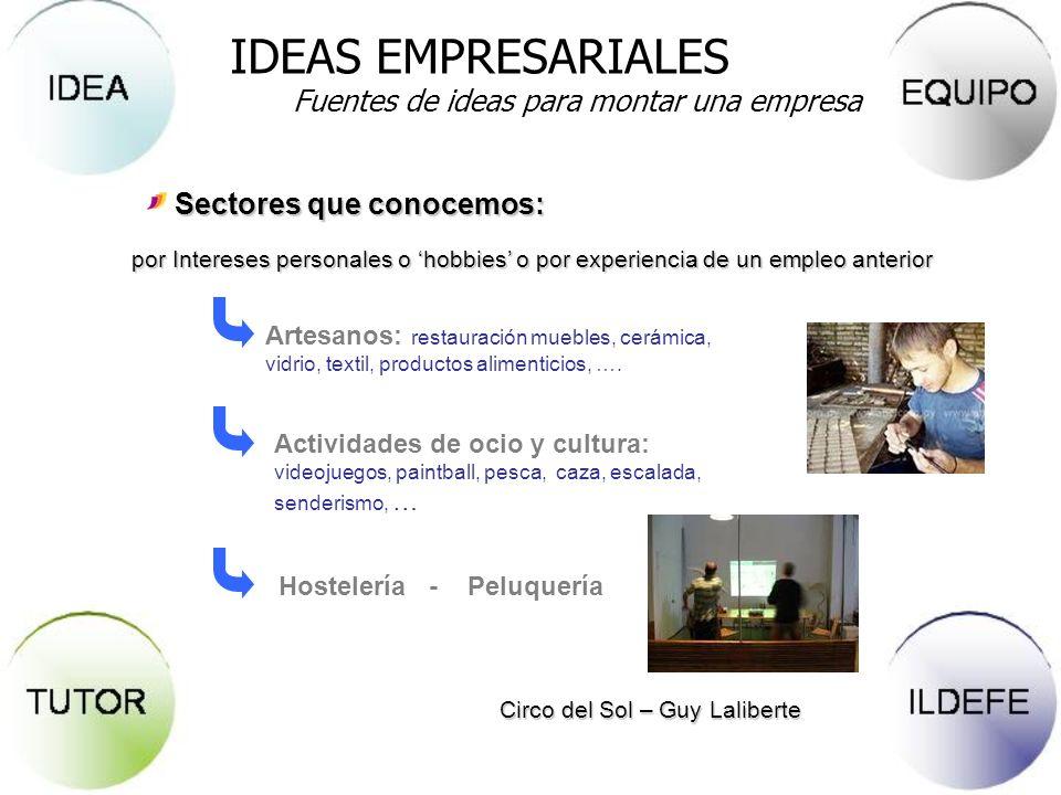 Sectores que conocemos: Circo del Sol – Guy Laliberte Artesanos: restauración muebles, cerámica, vidrio, textil, productos alimenticios, …. Actividade