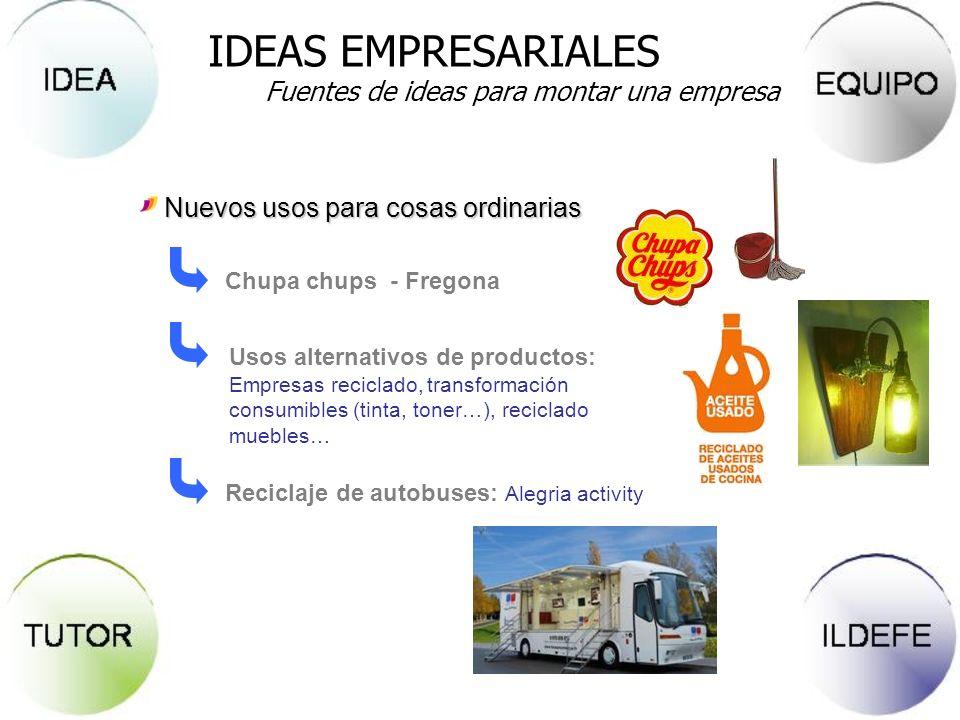 Reciclaje de autobuses: Alegria activity Nuevos usos para cosas ordinarias Chupa chups - Fregona Usos alternativos de productos: Empresas reciclado, t