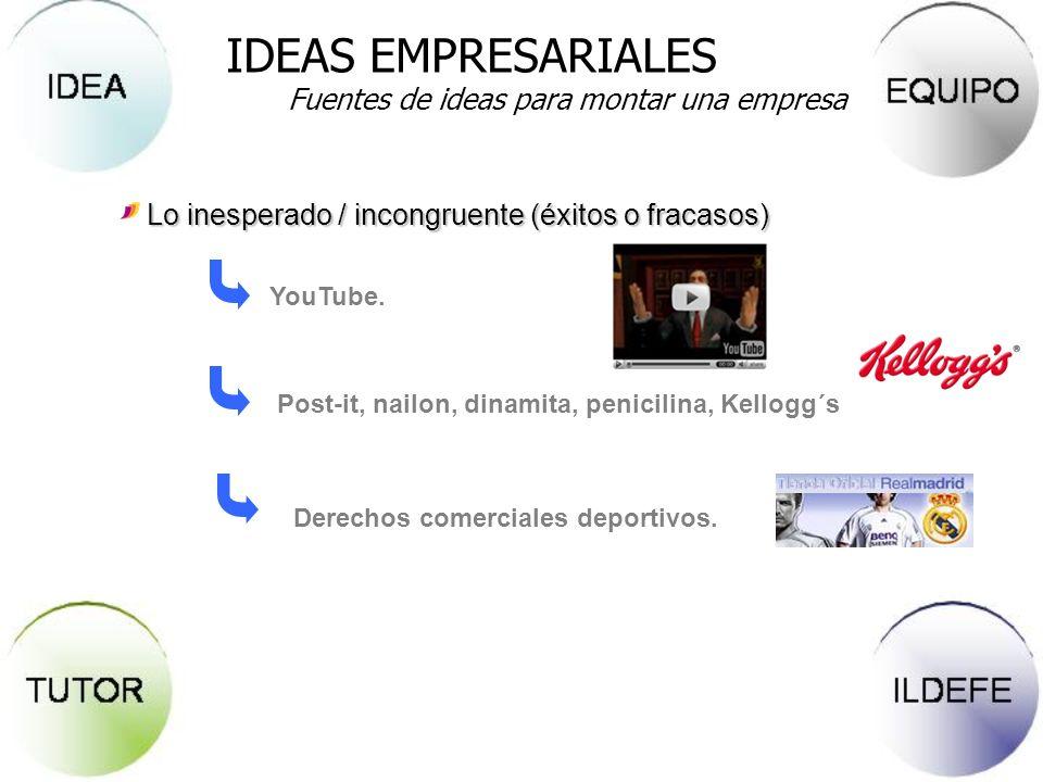 Lo inesperado / incongruente (éxitos o fracasos) YouTube. Post-it, nailon, dinamita, penicilina, Kellogg´s Derechos comerciales deportivos. IDEAS EMPR