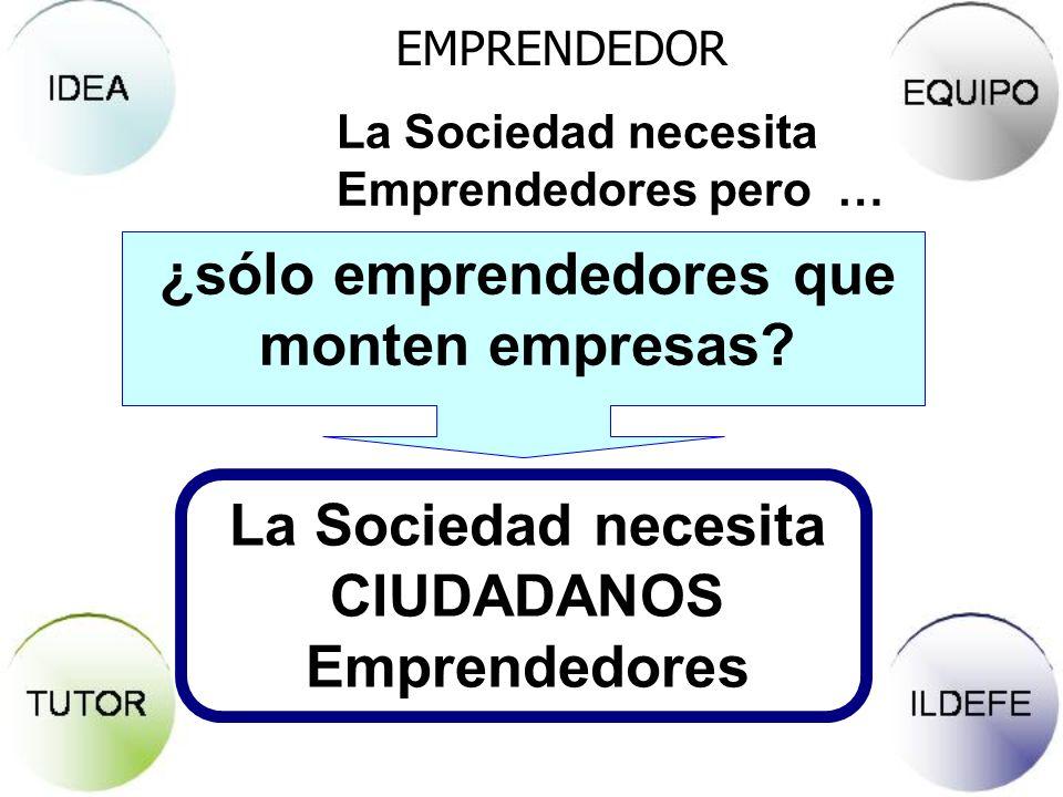 EMPRENDEDOR La Sociedad necesita CIUDADANOS Emprendedores ¿sólo emprendedores que monten empresas? La Sociedad necesita Emprendedores pero …