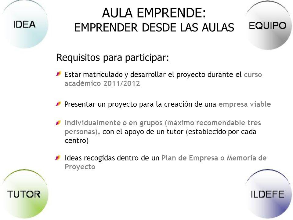 AULA EMPRENDE: EMPRENDER DESDE LAS AULAS Requisitos para participar: Estar matriculado y desarrollar el proyecto durante el curso académico 2011/2012