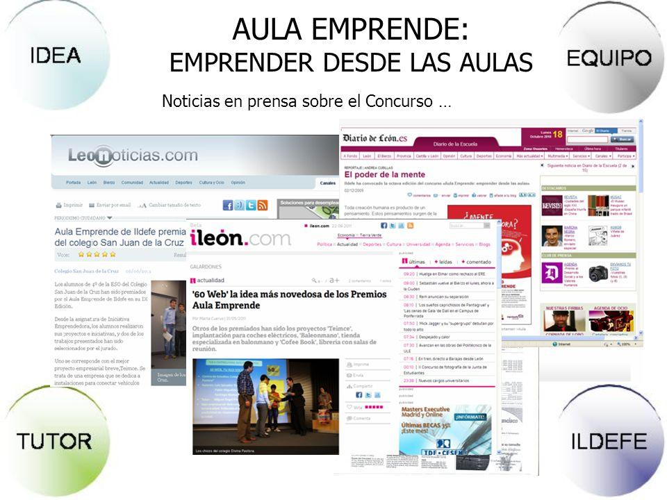 Noticias en prensa sobre el Concurso … AULA EMPRENDE: EMPRENDER DESDE LAS AULAS