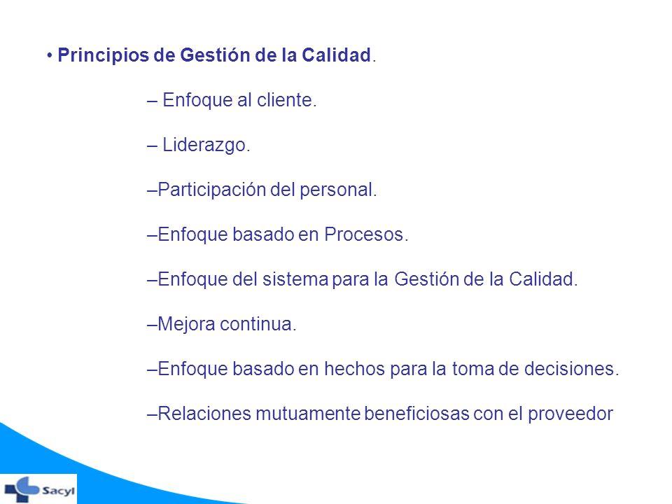 Principios de Gestión de la Calidad. – Enfoque al cliente. – Liderazgo. –Participación del personal. –Enfoque basado en Procesos. –Enfoque del sistema