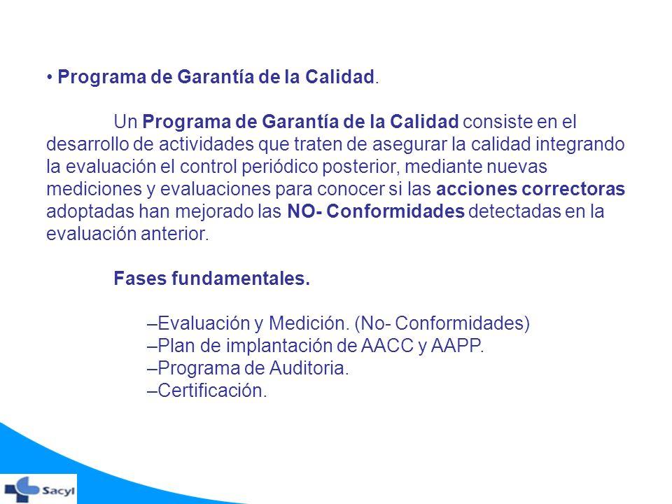Programa de Garantía de la Calidad. Un Programa de Garantía de la Calidad consiste en el desarrollo de actividades que traten de asegurar la calidad i