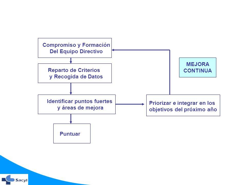 Compromiso y Formación Del Equipo Directivo Reparto de Criterios y Recogida de Datos Identificar puntos fuertes y áreas de mejora Puntuar Priorizar e