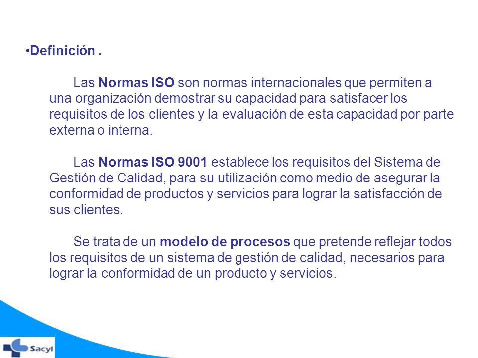Definición. Las Normas ISO son normas internacionales que permiten a una organización demostrar su capacidad para satisfacer los requisitos de los cli