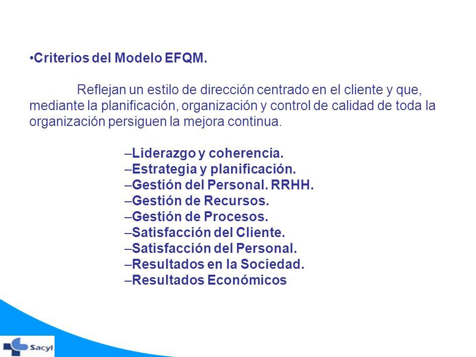 Criterios del Modelo EFQM. Reflejan un estilo de dirección centrado en el cliente y que, mediante la planificación, organización y control de calidad