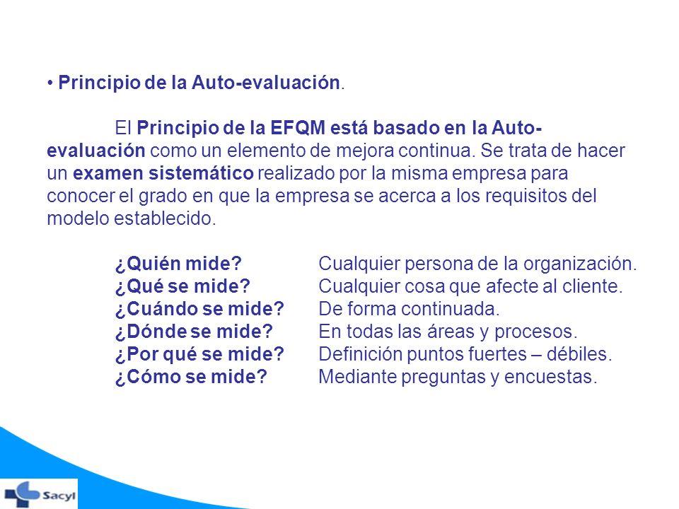 Principio de la Auto-evaluación. El Principio de la EFQM está basado en la Auto- evaluación como un elemento de mejora continua. Se trata de hacer un