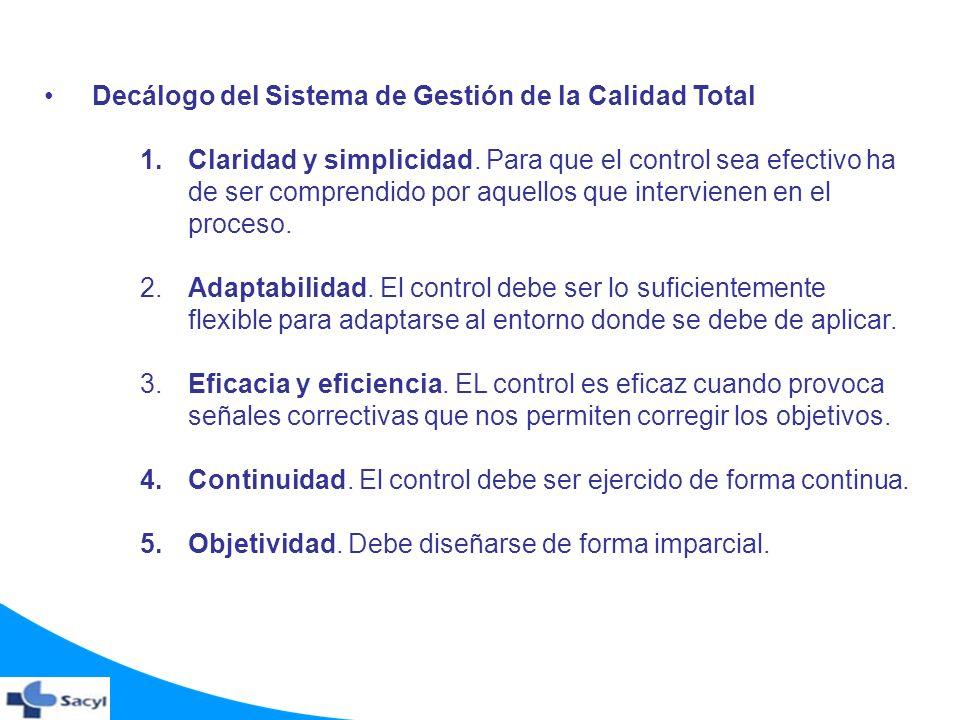 Decálogo del Sistema de Gestión de la Calidad Total 1.Claridad y simplicidad. Para que el control sea efectivo ha de ser comprendido por aquellos que