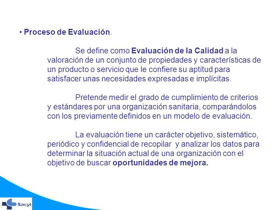Proceso de Evaluación. Se define como Evaluación de la Calidad a la valoración de un conjunto de propiedades y características de un producto o servic