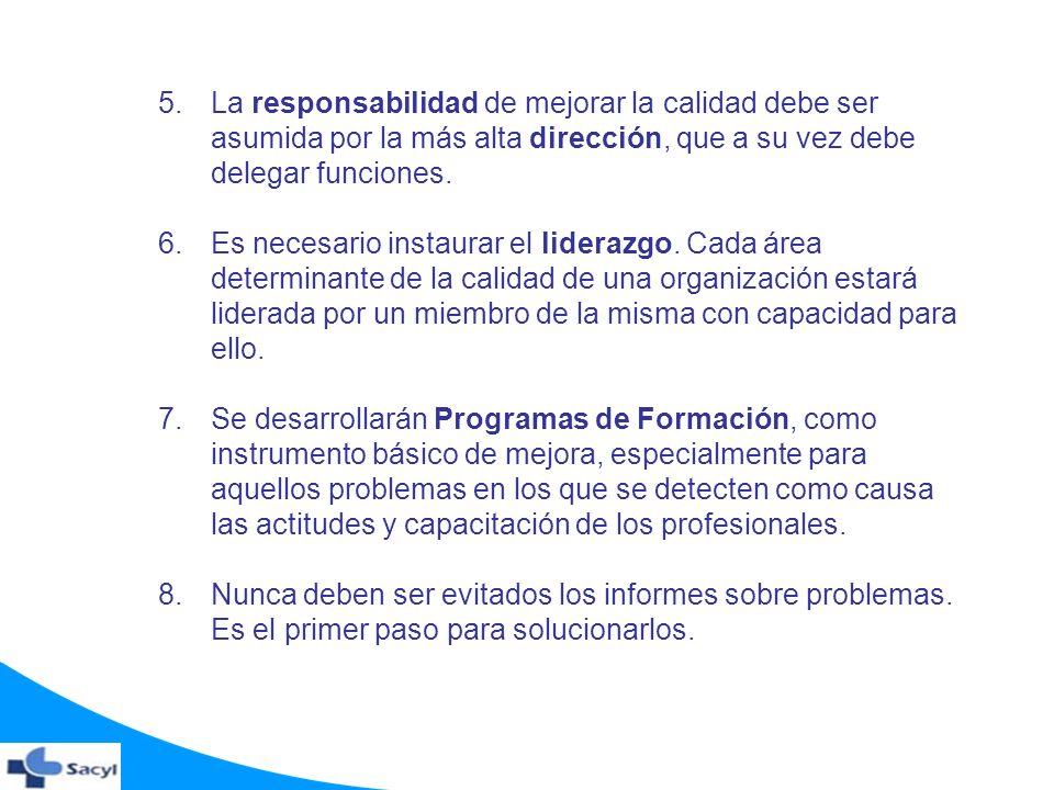 5.La responsabilidad de mejorar la calidad debe ser asumida por la más alta dirección, que a su vez debe delegar funciones. 6.Es necesario instaurar e