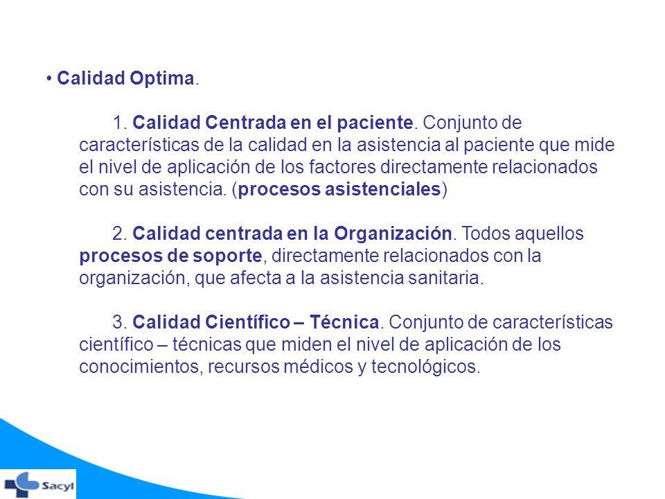 Calidad Optima. 1. Calidad Centrada en el paciente. Conjunto de características de la calidad en la asistencia al paciente que mide el nivel de aplica