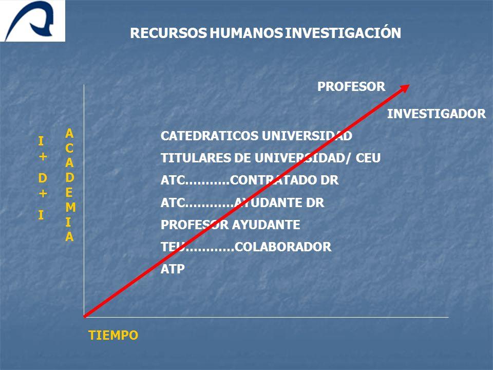 RECURSOS HUMANOS INVESTIGACIÓN CATEDRATICOS UNIVERSIDAD TITULARES DE UNIVERSIDAD/ CEU ATC………..CONTRATADO DR ATC…………AYUDANTE DR PROFESOR AYUDANTE TEU……