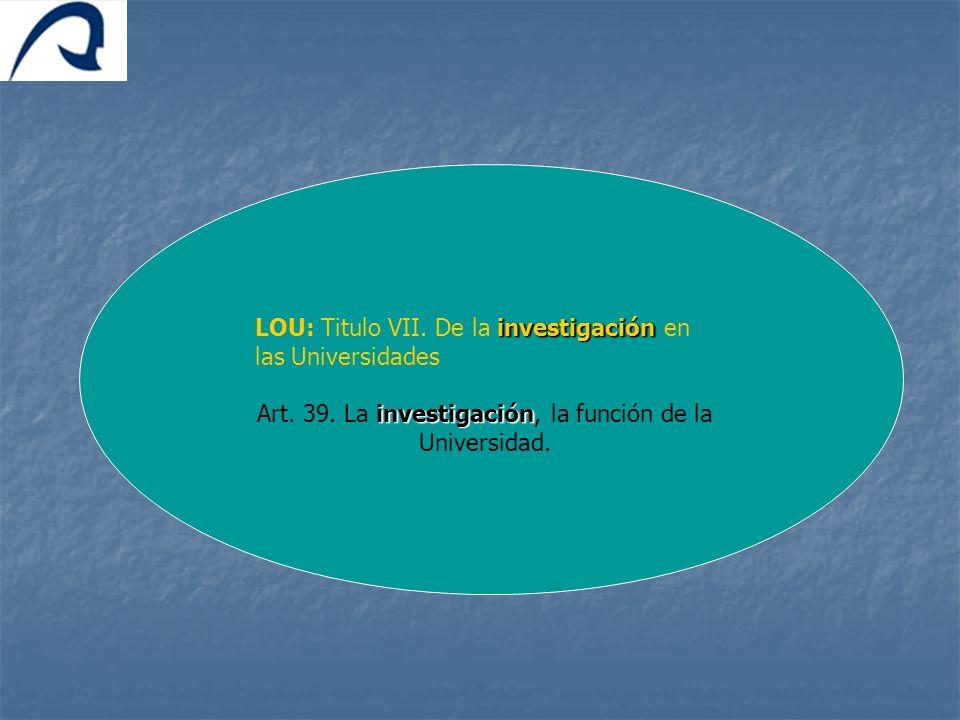investigación LOU: Titulo VII. De la investigación en las Universidades investigación Art. 39. La investigación, la función de la Universidad.