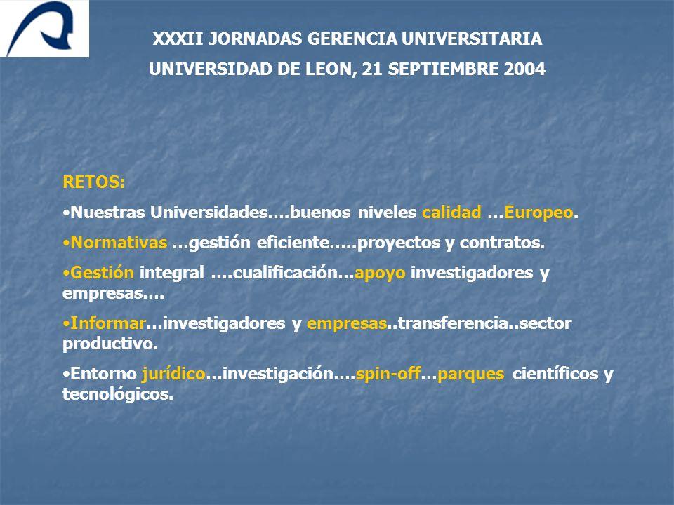 RETOS: Nuestras Universidades….buenos niveles calidad …Europeo. Normativas …gestión eficiente…..proyectos y contratos. Gestión integral ….cualificació