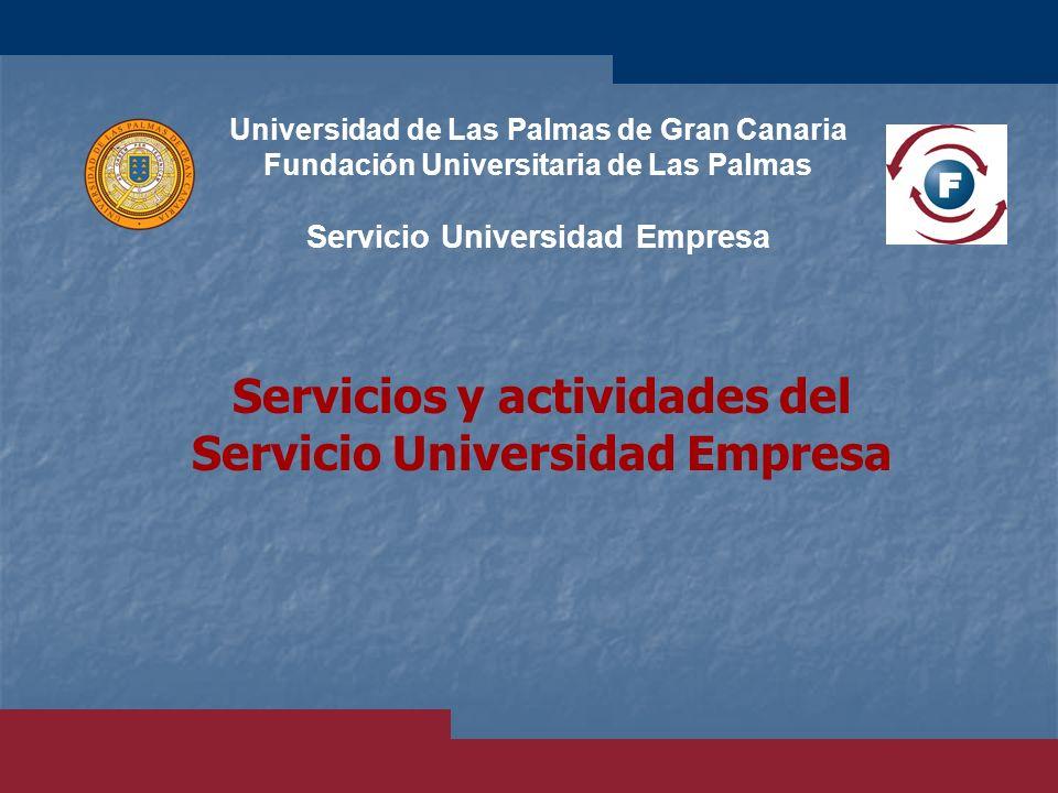 Servicios y actividades del Servicio Universidad Empresa Universidad de Las Palmas de Gran Canaria Fundación Universitaria de Las Palmas Servicio Univ