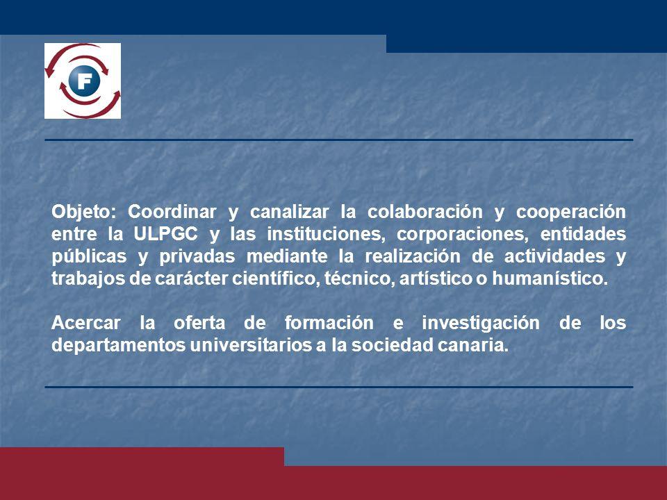 Objeto: Coordinar y canalizar la colaboración y cooperación entre la ULPGC y las instituciones, corporaciones, entidades públicas y privadas mediante