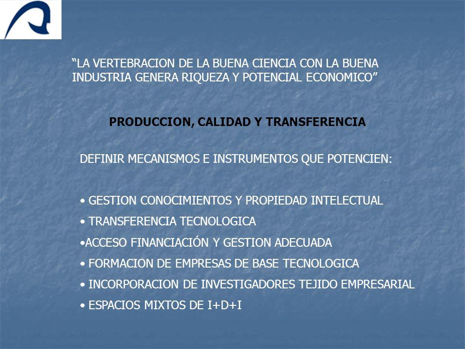 LA VERTEBRACION DE LA BUENA CIENCIA CON LA BUENA INDUSTRIA GENERA RIQUEZA Y POTENCIAL ECONOMICO PRODUCCION, CALIDAD Y TRANSFERENCIA DEFINIR MECANISMOS