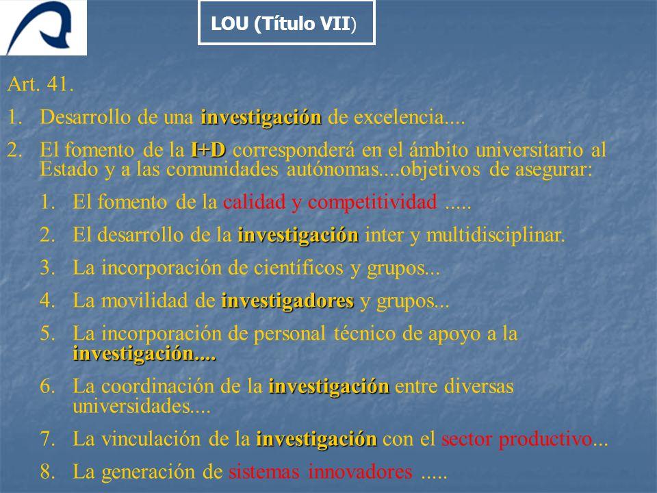 Art. 41. investigación 1.Desarrollo de una investigación de excelencia.... I+D 2.El fomento de la I+D corresponderá en el ámbito universitario al Esta