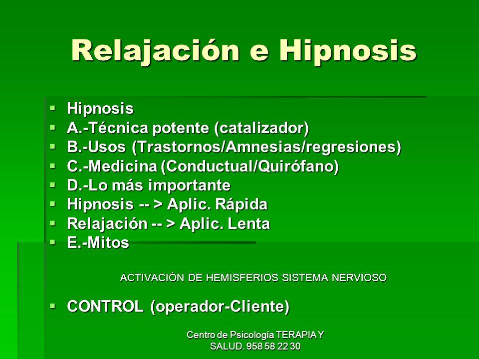 Centro de Psicología TERAPIA Y SALUD. 958 58 22 30 Relajación e Hipnosis Hipnosis Hipnosis A.-Técnica potente (catalizador) A.-Técnica potente (catali