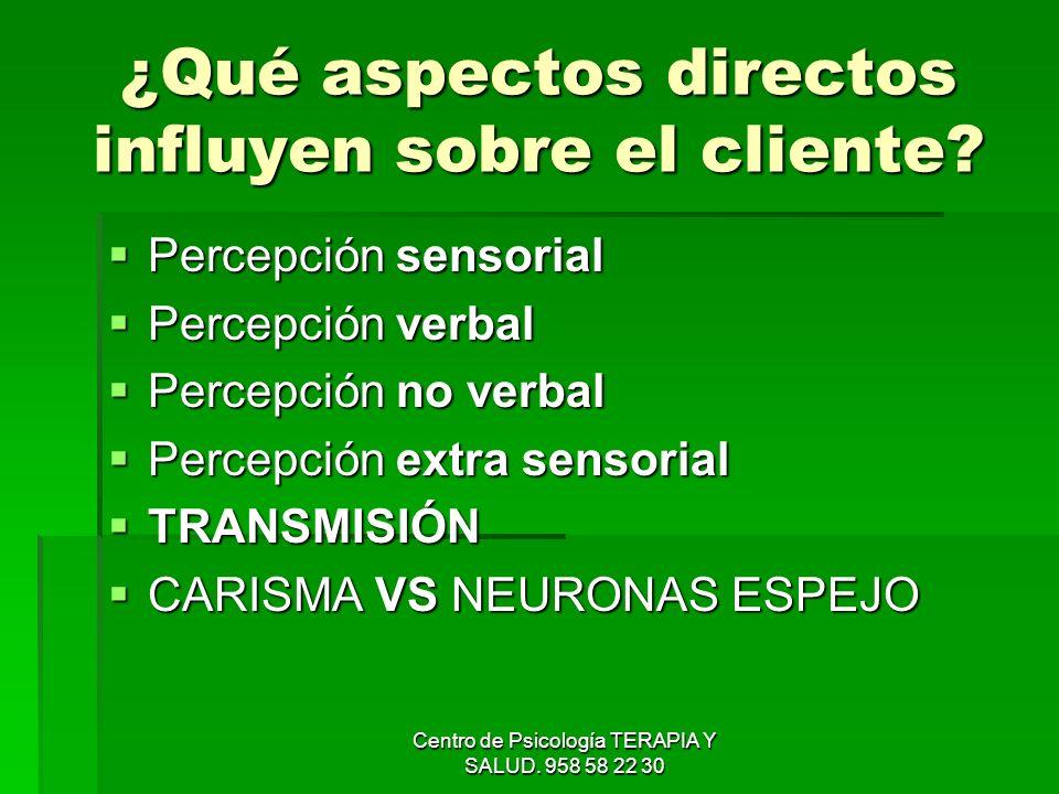 Centro de Psicología TERAPIA Y SALUD. 958 58 22 30 ¿Qué aspectos directos influyen sobre el cliente? Percepción sensorial Percepción sensorial Percepc