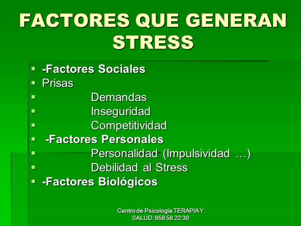 Centro de Psicología TERAPIA Y SALUD. 958 58 22 30 FACTORES QUE GENERAN STRESS -Factores Sociales -Factores Sociales Prisas Prisas Demandas Demandas I