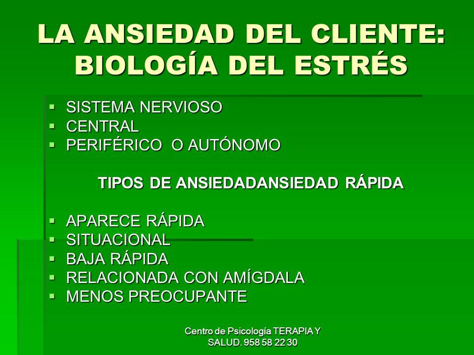 Centro de Psicología TERAPIA Y SALUD. 958 58 22 30 LA ANSIEDAD DEL CLIENTE: BIOLOGÍA DEL ESTRÉS SISTEMA NERVIOSO SISTEMA NERVIOSO CENTRAL CENTRAL PERI