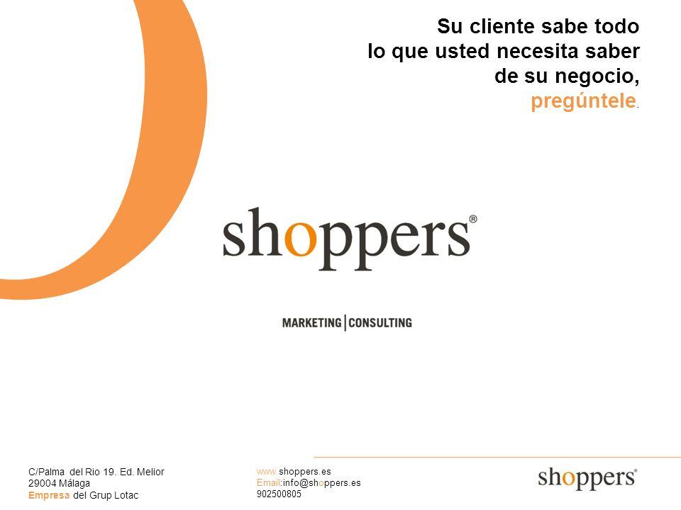 C/Palma del Rio 19. Ed. Melior 29004 Málaga Empresa del Grup Lotac www.shoppers.es Email:info@shoppers.es 902500805 O Su cliente sabe todo lo que uste