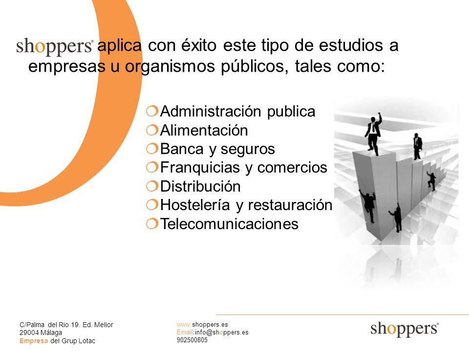 C/Palma del Rio 19. Ed. Melior 29004 Málaga Empresa del Grup Lotac www.shoppers.es Email:info@shoppers.es 902500805 O aplica con éxito este tipo de es