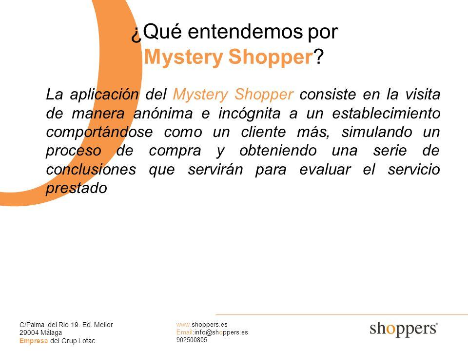 C/Palma del Rio 19. Ed. Melior 29004 Málaga Empresa del Grup Lotac www.shoppers.es Email:info@shoppers.es 902500805 O ¿Qué entendemos por Mystery Shop
