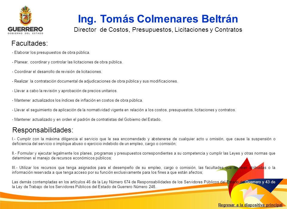 Regresar a la diapositiva principal Ing.