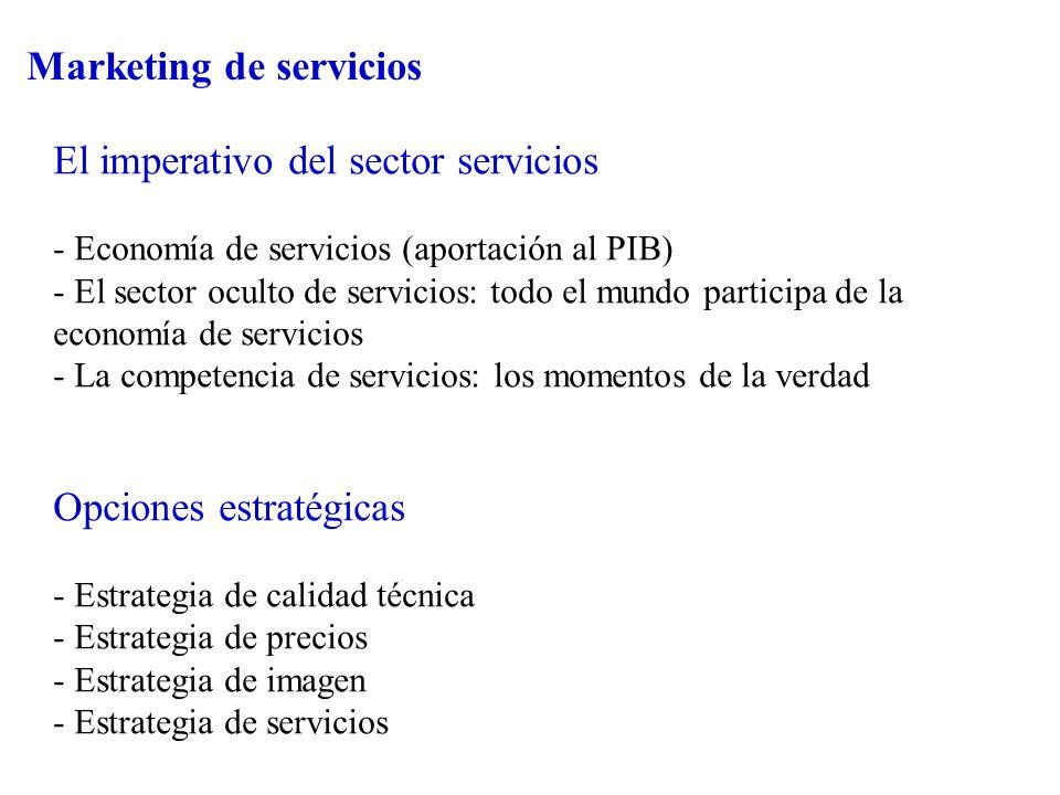 Marketing de servicios El imperativo del sector servicios - Economía de servicios (aportación al PIB) - El sector oculto de servicios: todo el mundo p