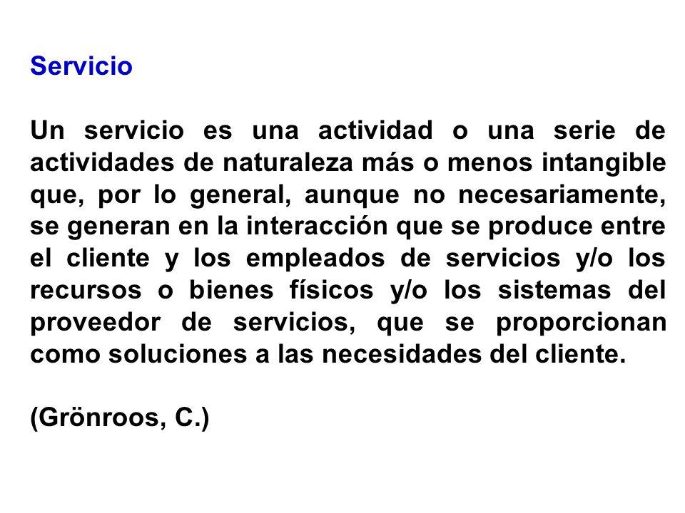 Servicio Un servicio es una actividad o una serie de actividades de naturaleza más o menos intangible que, por lo general, aunque no necesariamente, s