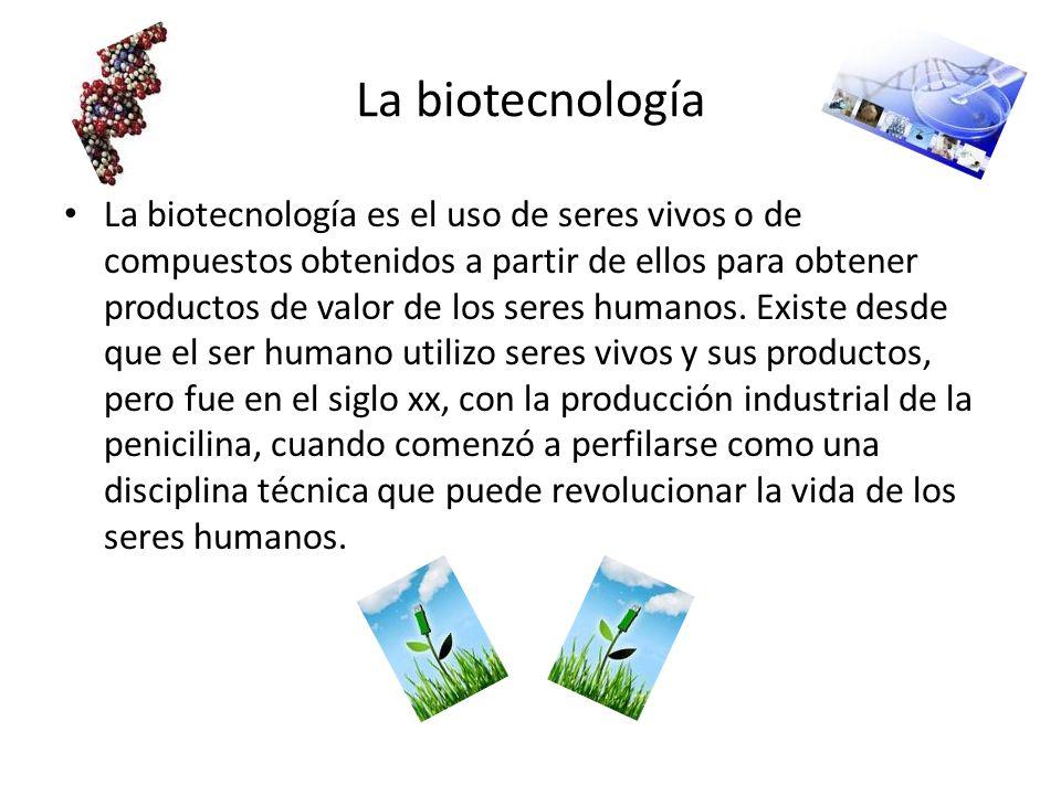 La biotecnología La biotecnología es el uso de seres vivos o de compuestos obtenidos a partir de ellos para obtener productos de valor de los seres hu