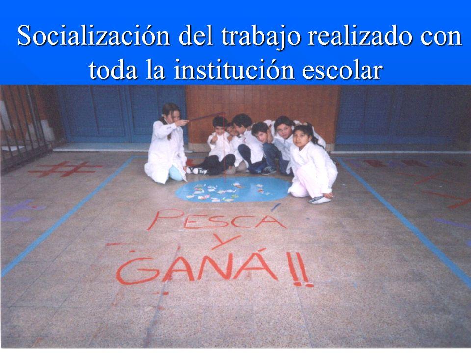 Socialización del trabajo realizado con toda la institución escolar Socialización del trabajo realizado con toda la institución escolar