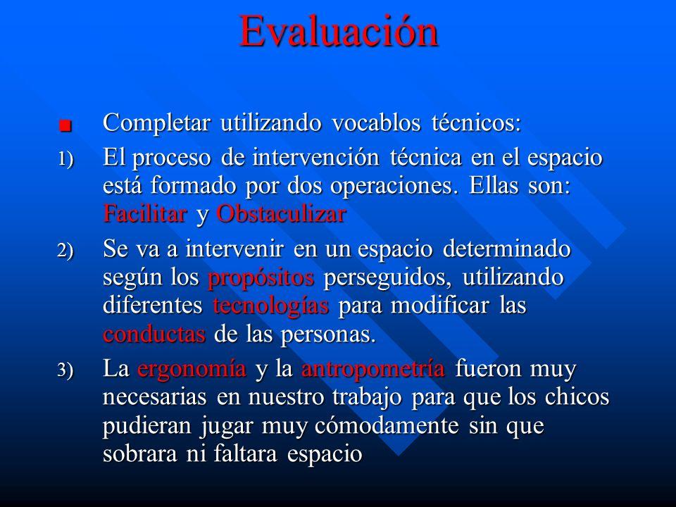 EvaluaciónCompletar utilizando vocablos técnicos: 1) El 1) El proceso de intervención técnica en el espacio está formado por dos operaciones.