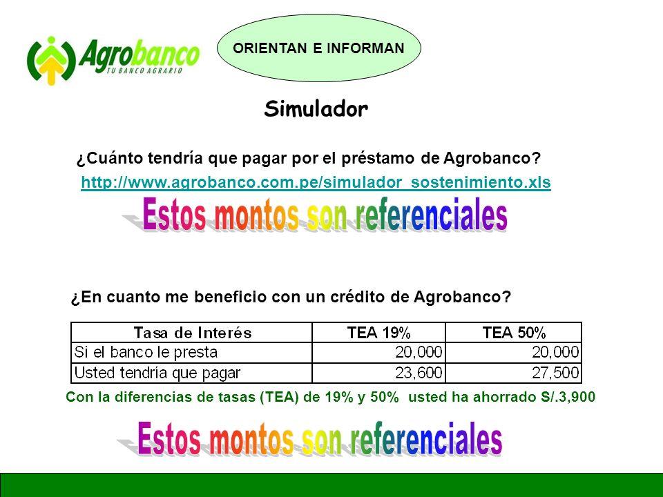 GERENCIA DE ADMINISTRACION Y FINANZAS Simulador ¿En cuanto me beneficio con un crédito de Agrobanco? Con la diferencias de tasas (TEA) de 19% y 50% us