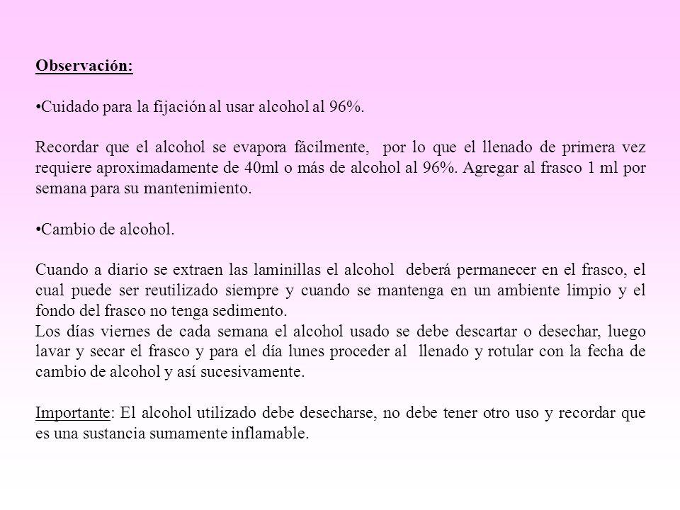 Observación: Cuidado para la fijación al usar alcohol al 96%. Recordar que el alcohol se evapora fácilmente, por lo que el llenado de primera vez requ