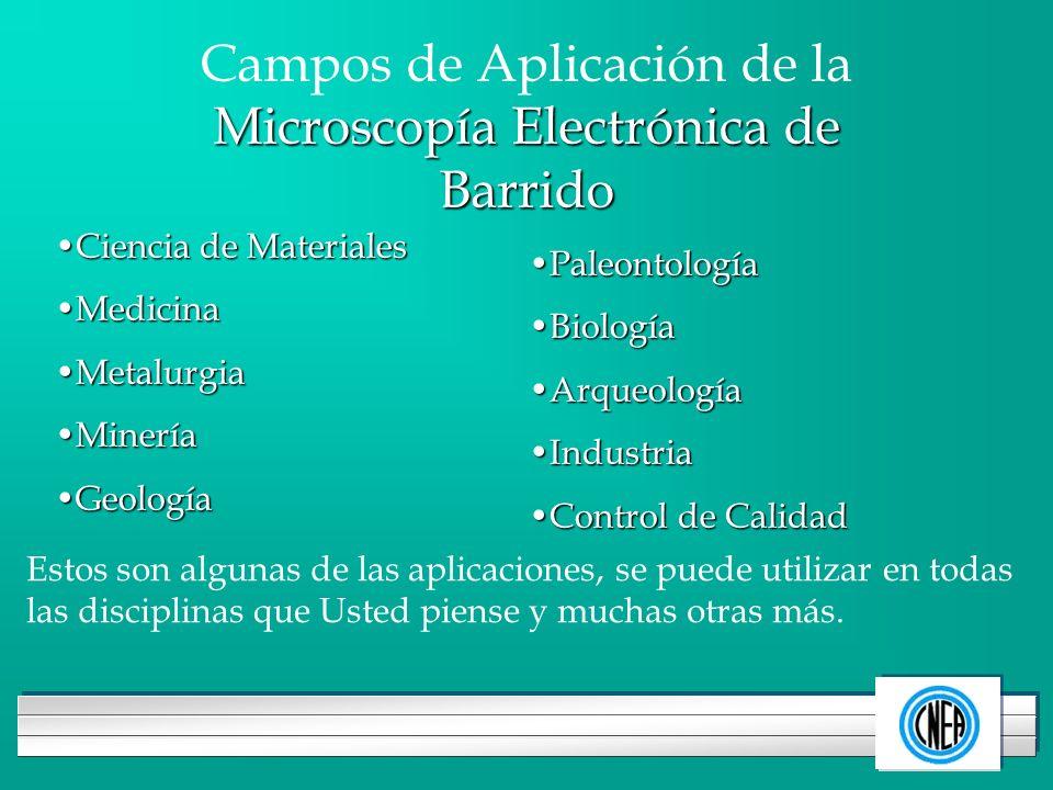 LOGOTIPO DE SU EMPRESA Microscopía Electrónica de Barrido Campos de Aplicación de la Microscopía Electrónica de Barrido Ciencia de MaterialesCiencia d