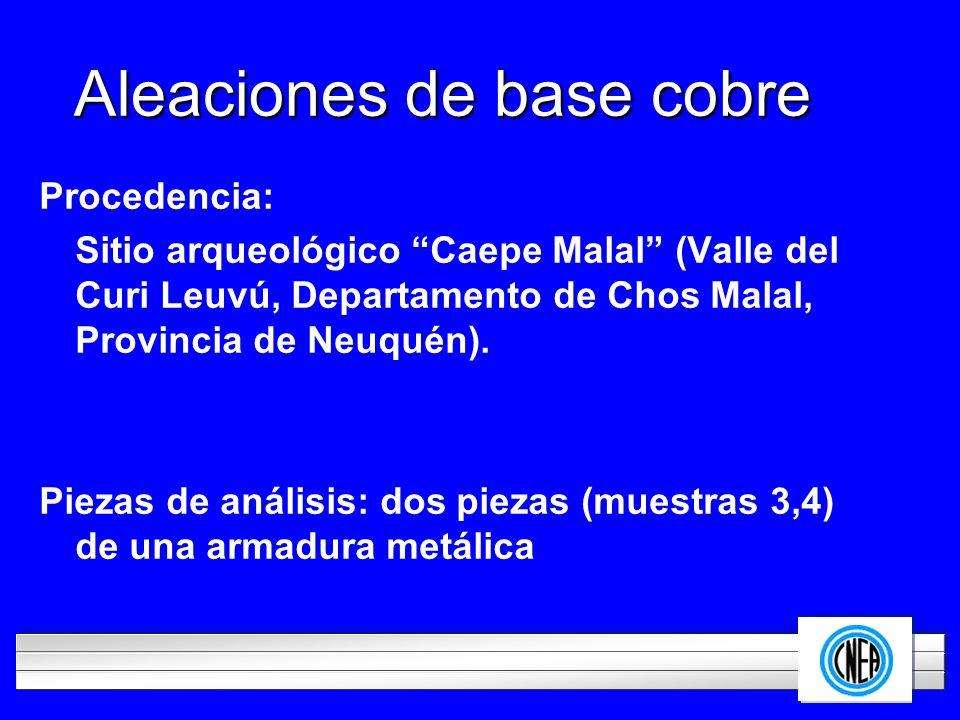 LOGOTIPO DE SU EMPRESA Aleaciones de base cobre Procedencia: Sitio arqueológico Caepe Malal (Valle del Curi Leuvú, Departamento de Chos Malal, Provinc
