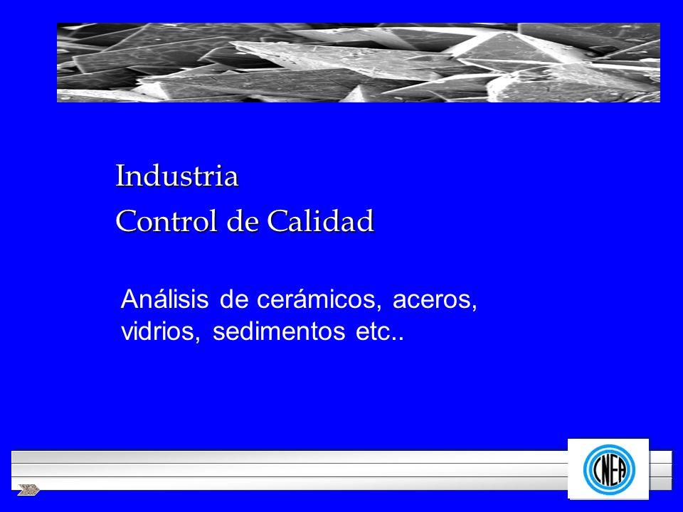 LOGOTIPO DE SU EMPRESA Industria Análisis de cerámicos, aceros, vidrios, sedimentos etc.. Control de Calidad